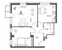 2-комнатная квартира 51.96 кв. м.