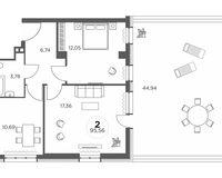 2-комнатная квартира 95.56 кв. м.