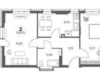 2-комнатная квартира 50.05 кв. м.