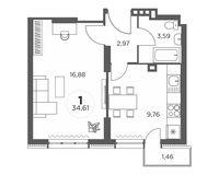 1-комнатная квартира 34.61 кв. м.